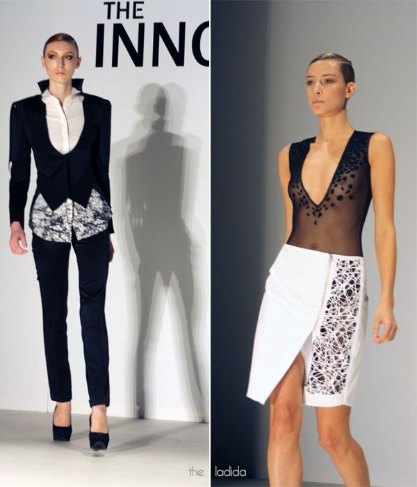 MBFWA: THE INNOVATORS X YING YUAN. Italian wool tuxedo suit with spider web digital print tuxedo shirt. Laser cut detailed body suit with laser cut leather pencil skirt. Designed by Ying Yuan.