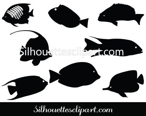 Coral Fish Silhouette Download Fish Vector Graphics