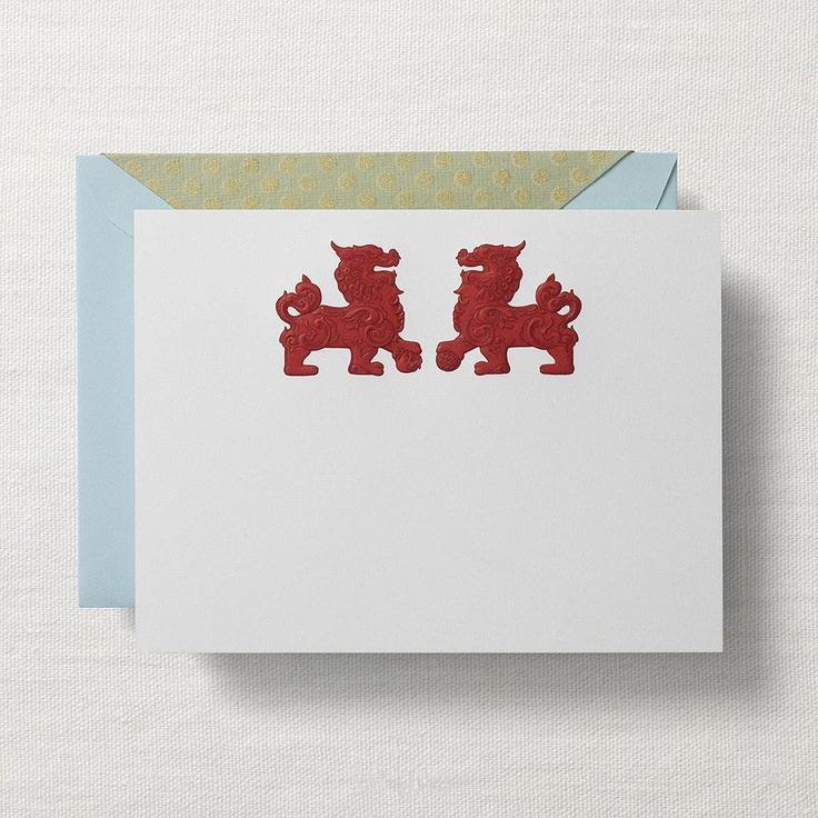 Hand Engraved Foo Dogs Correspondence Cards