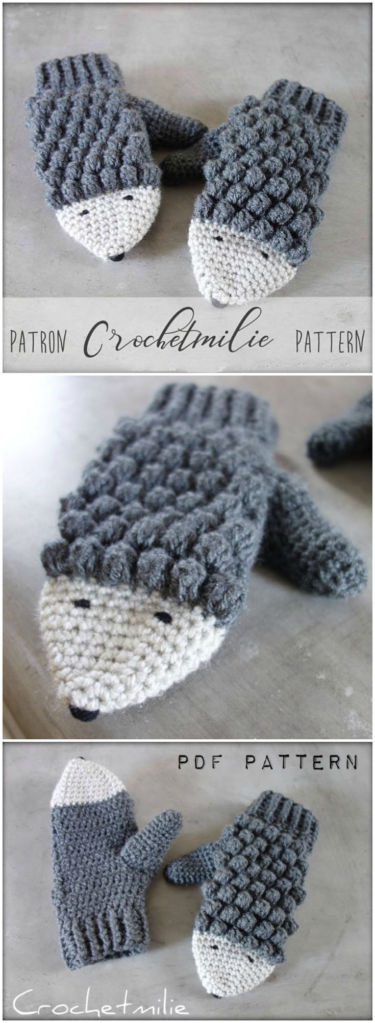 Hedgehog Mittens! Adorable crochet pattern for these fun puff-stitch, cozy winter mittens! Looks like a warm and simple pattern to crochet! #etsy #ad