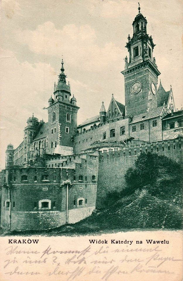 Kraków-ciekawostki,tajemnice,stare zdjęcia -Katedra na Wawelu na pięknej pocztówce z 1910 roku.