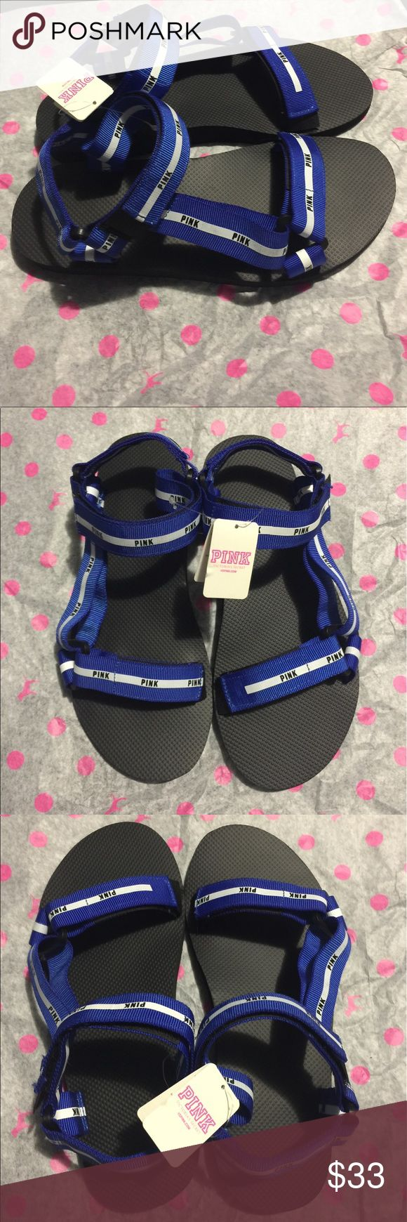 Victoria's Secret PINK Blue Velcro Strap Sandals Blue color. Size medium (7-8). Brand New With Tags. PINK Victoria's Secret Shoes