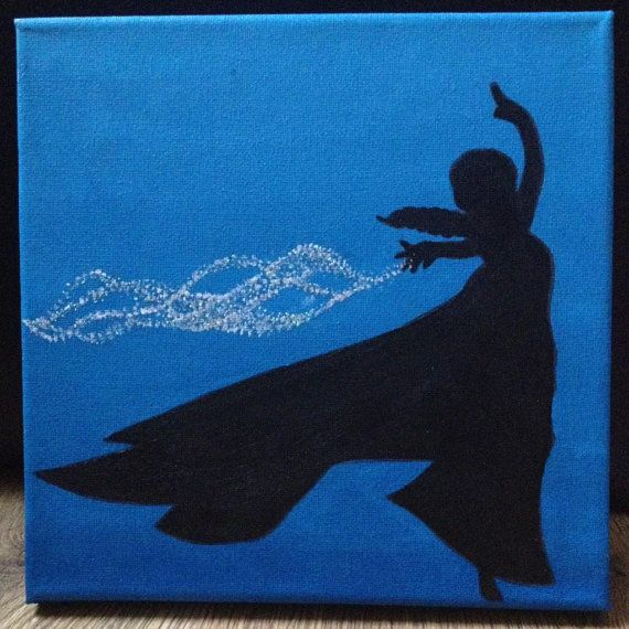 From Disneys No.1 animated movie Frozen, a Queen Elsa silhouette painting on a 20cm x 20cm canvas, using acrylic paint and silver glitter. Depth:
