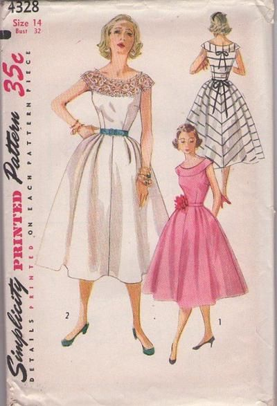 MOMSPatterns Vintage Sewing Patterns - Simplicity 4328 Vintage 50's Sewing Pattern DIVINE Rockabilly Cocktail Party, Mad Men Scoop Neck Cutwork Lace Bias Party Gown, Cocktail Dress Size 14