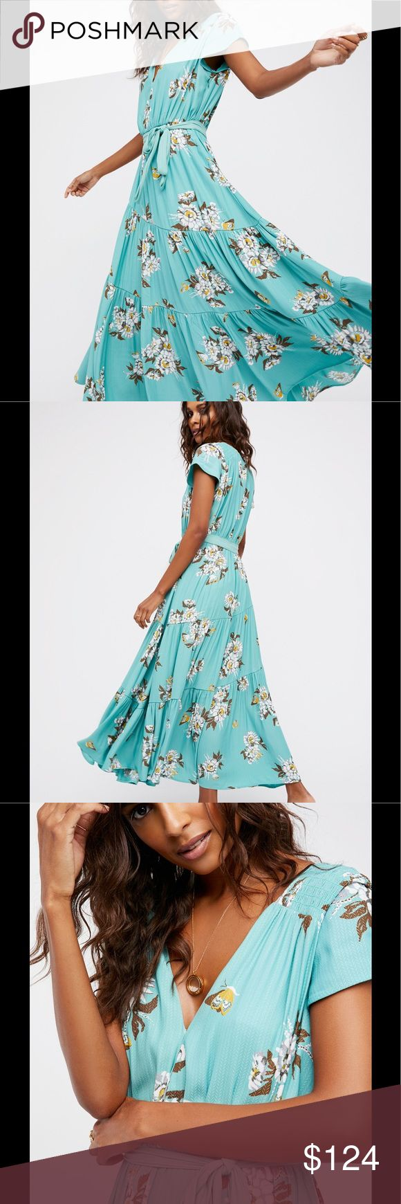Free people All I Got Maxi dress 6 Beautiful long maxi dress Botanical size 6 A crepe Free People maxi dress with a romantic floral print. A self-belt ties at the waist, and tiered ruffles lend a full effect to the skirt. Deep V neckline and cap sleeves. Button back placket. Lined.  Fabric: Crepe. Shell: 100% polyester. Lining: 100% rayon. Wash cold or dry clean. Free People Dresses Maxi