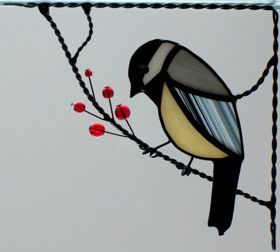 Corner stained glass bird