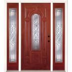 Feather River Doors 67.5 in.x81.625in.Lakewood Zinc Center Arch Lt Stained Cherry Mahogany Lt-Hd Fiberglass Prehung Front Door w/ Sidelites, Mahogany Woodgrain: Cherry Finish