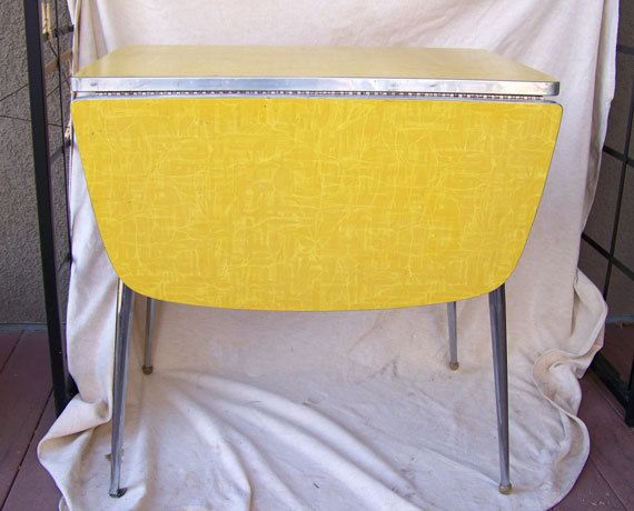 Retro Dinette Table Yellow Modernist Drop Leaf With Chrome