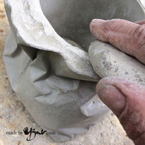 Tied Concrete Bag Planter - Made By Barb - Super easy pour into a recycled foil bag to create a quick unique concrete planter or vessel