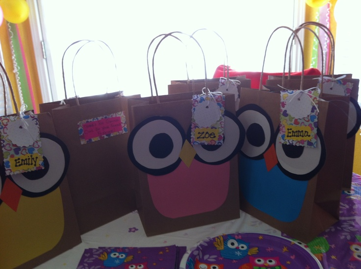 Owl themed party bags :D