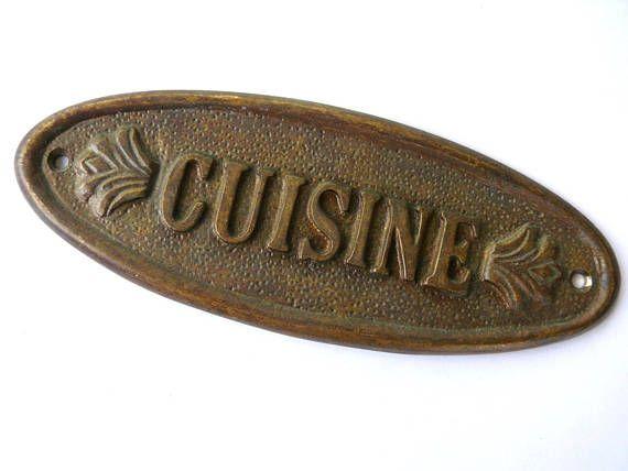 Vintage French Brass Kitchen Door Sign Cusine Door Plaque