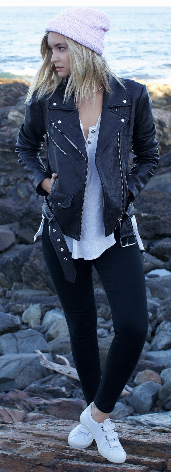 Leather Jacket – Veda via ANTHOM, top – Free People, pants – Urban Outfitters, shoes – veja via ANTHOM, Beanie – Daytrip Society