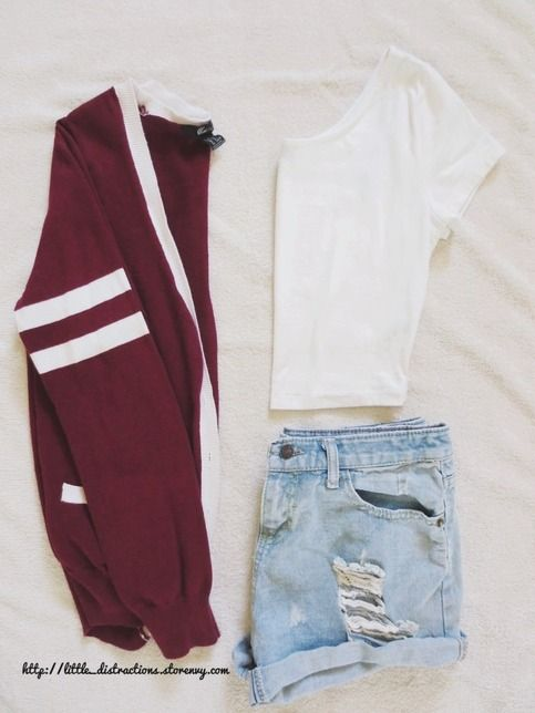 Maroon varsity cardigan: - Forever 21 - maroon base w/ white outlining - 2 white stripes on the left arm - boyfriend-style  - side pockets on both sides - size medium (fits small too; medium-fitted) - 100% cotton