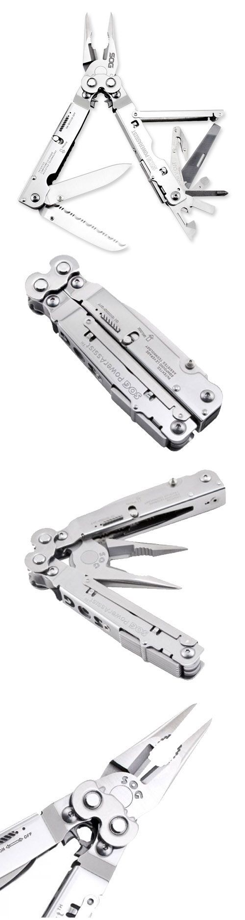 SOG PowerAssist Multi-Tool S66N-CP - 16 Tools, Satin Polsihed, Nylon Sheath, Assisted 2.75 Blade, Compound Leverage - Everyday Carry Gear