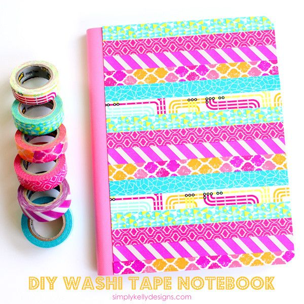 Are you a washi tape hoarder like me? Use some of your stash to make a vibrant washi tape composition notebook.