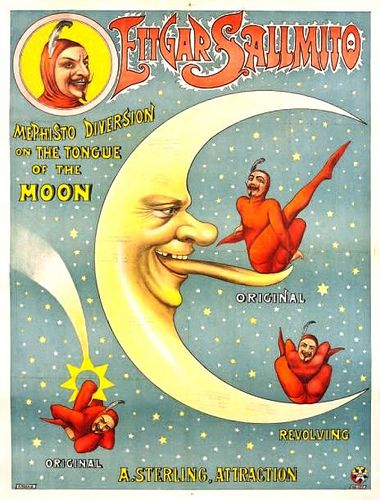 MEPHISTO--DIVERSION ON THE TONGUE OF THE MOON  1900 chromolith poster for a sterling attraction with Ettgar Sallmito