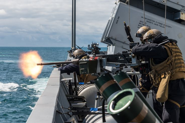 REYKJAVICK (ICELAND), June, 26. 2017.HNoMS Roald Amundsen gunners open fire on fast boat threat during a Force Protection demonstration for distinguish visitors and press journalists as Dynamic Mongoose exercise kicks off. Dynamic Mongoose is a high-end multi-national exercise designed to sharpen existing NATO Anti-Submarine Warfare (ASW) skills in a deep water training area.