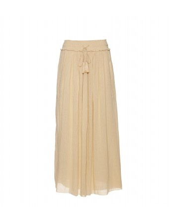 Tan crinkle cotton maxi skirt with a smocked elasticized waistband and matching tassel-detailed rope drawstring. Raw hemline. Side slit pockets. Fully lined.    	  										100% Cotton  											Lining: 100% Cotton  											Hand wash  											Designer color name: Creme