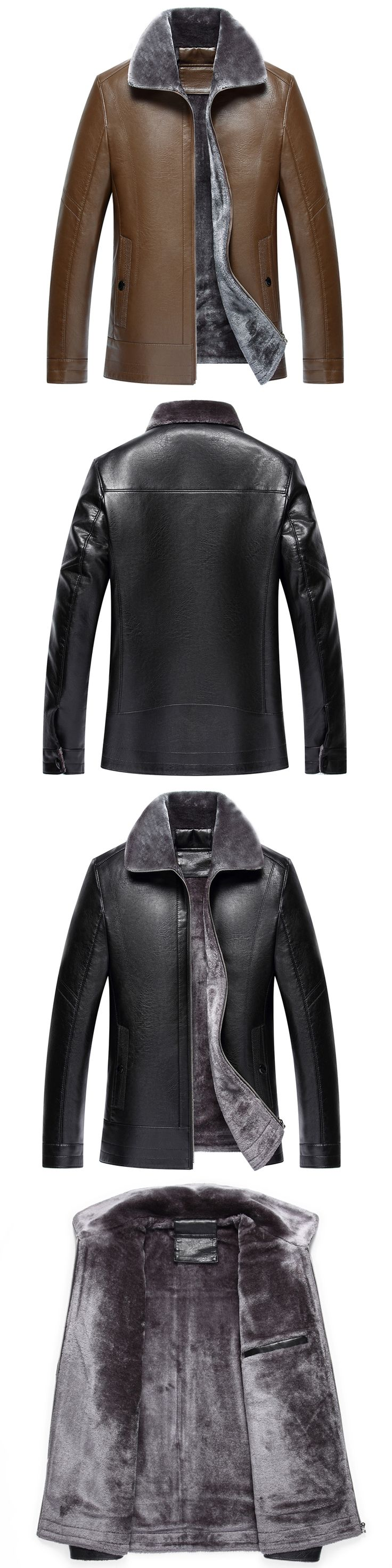 Free Shipping Hot Sale Winter Thick Leather Garment Casual flocking Leather Jacket Men's Clothing Leather Jacket Men