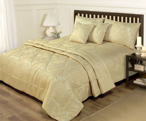 From 64.99 King Size Duvet Cover & Throw Set - 6 Piece Jacquard Gold Bed Set