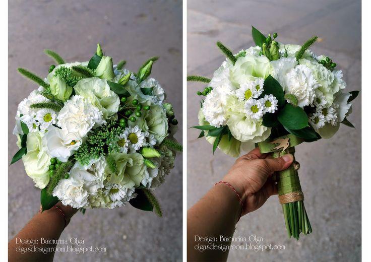 "Baiciurina Olga's Design Room: White&Green rustic wedding bouquet-Бело-зеленый букет невесты в стиле ""рустик"""