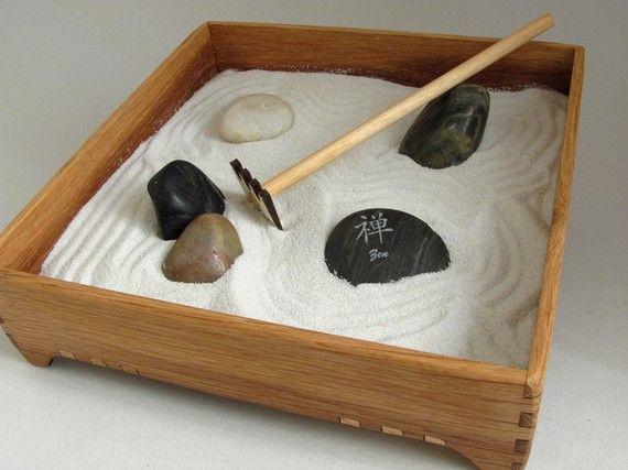 Mini Zen Garden Karesansui With White Sand By TimberGreenWoods, $44.00