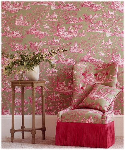 Toile chair and toile wallpaper, Manuel Canovas.
