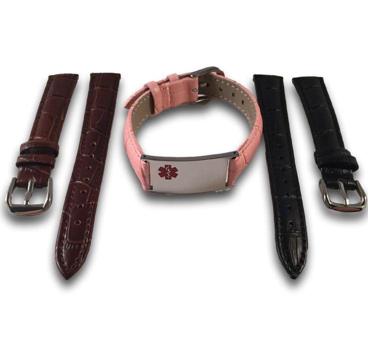 Medische ID armbanden set voor dames, in 3 kleuren leer. Graveren op de voor & achterzijde mogelijk.