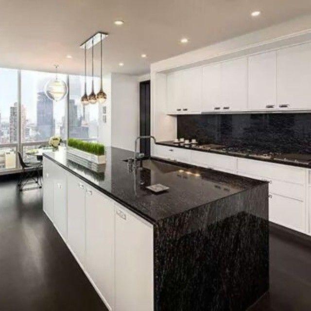 M s de 25 ideas incre bles sobre cocina de granito negro for Marmol negro y blanco
