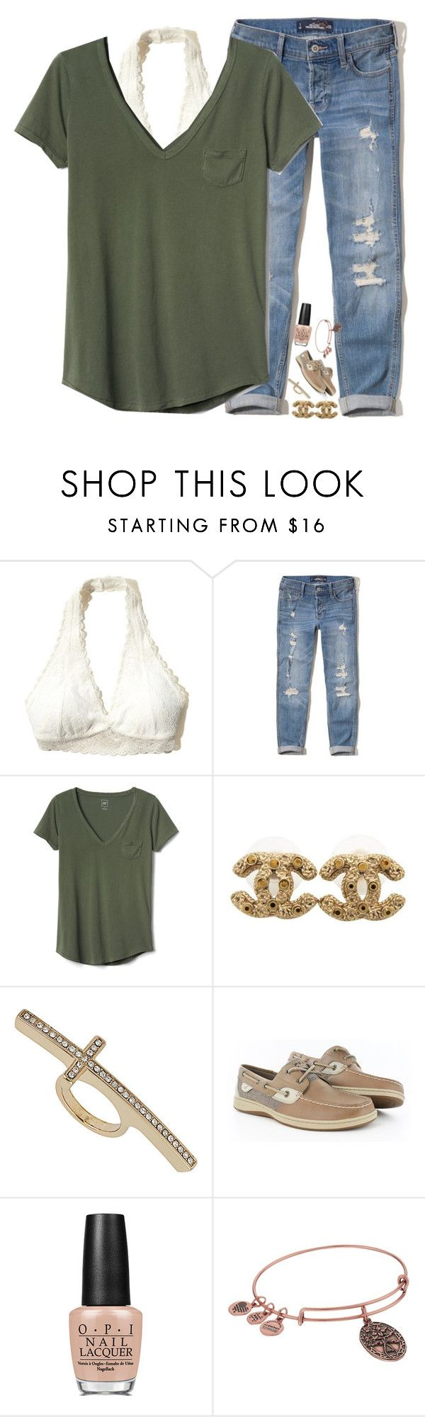 """""""give me love"""" by xoxorachelizabeth ❤ liked on Polyvore featuring Hollister Co., Gap, Chanel, Topshop, Sperry, OPI and Alex and Ani"""