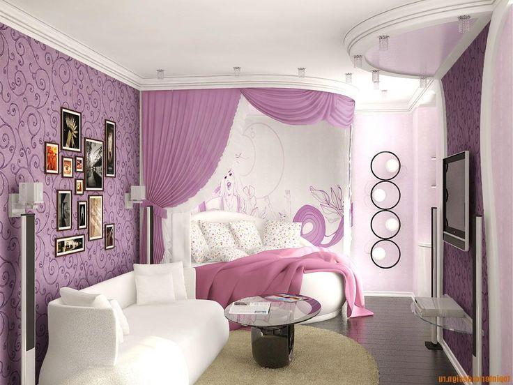 Interesting Girls Bedroom Decoration With Purple Wallpaper