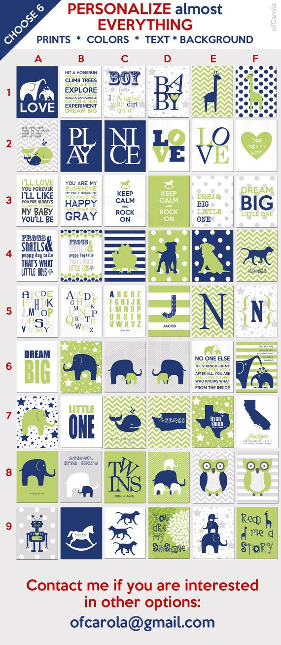 Navy Blue And Green Wall Decor : Navy blue lime green white gray nursery wall art