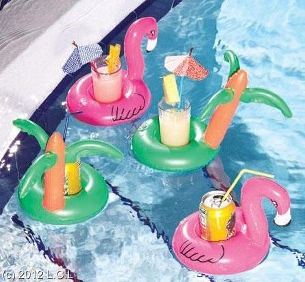 And these tropical floating drink holders:
