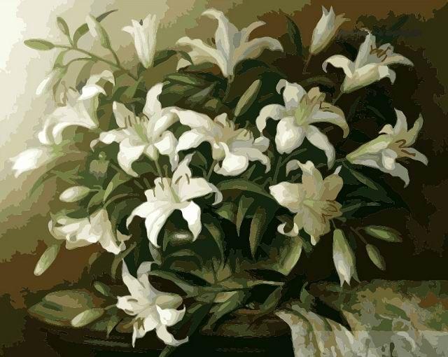Белые лилии Раскрашивание по номерам Мenglei (Китай)