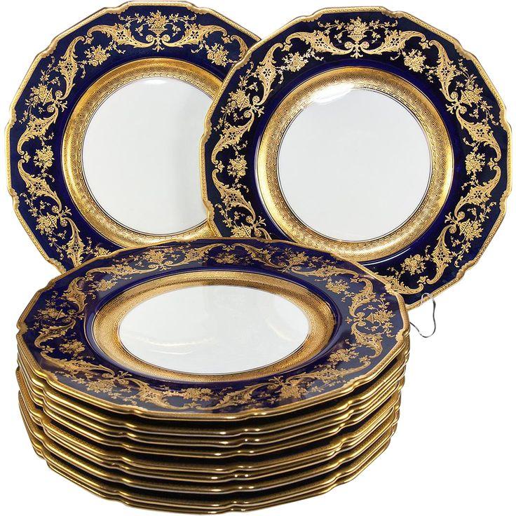 Set 11 Opulent Antique Raised Gold Encrusted Cobalt \u0026 White Dinner Plates Royal Doulton  sc 1 st  Pinterest & 464 best Antique porcelains china pottery - ceramics images on ...