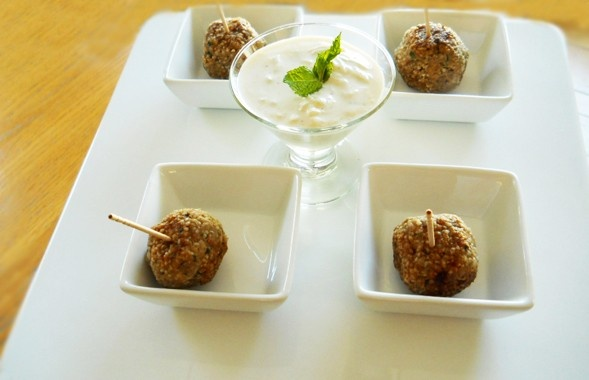 Meatballs with Spiced Yogurt Sauce | Food. Healthy & Sinfully Delicio ...