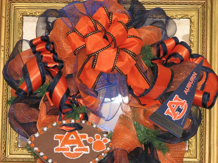 A personal favorite from my Etsy shop https://www.etsy.com/listing/119691600/auburn-wreath-deco-mesh-wreath-front