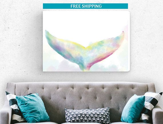 FREE SHIPPING, Whale canvas print,canvas art,new house decoration,housewarming gift,watercolor art canvas print, woodland print, wall canvas