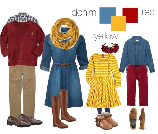 What to wear for fall family photos. A shopable set by NAPCP member Kate L Photography. #denim #red #yellow