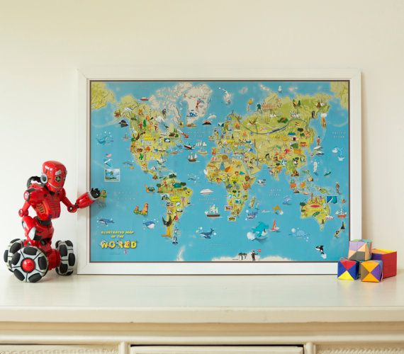 16 best etsy usa images on pinterest world maps wall maps and kids cartoon map of the world silk art paper home decor kids bedroom gift wall hanging wall map map poster free shipping gumiabroncs Images