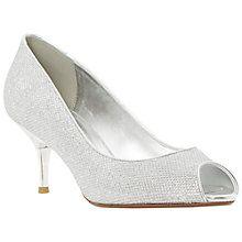Buy Dune Delia Peep Toe Kitten Court Shoes, Silver Online at johnlewis.com