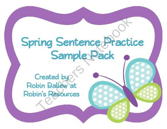 FREE Spring Sentences (complete, fragment, run on) *sample packet* from Robin's Resources on TeachersNotebook.com -  (9 pages)  - This sampler reviews the concepts of complete, run on, and sentence fragments. To practice the skill, 24 task cards are included along with two different sorting mats, depending on which vocabulary your students use to identify these sentences. A mini anc