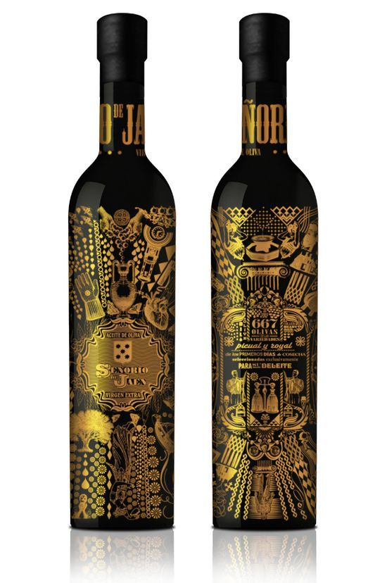 """Senorio de Jaen is proud to present the first olive oil to be wrapped in gold and decorated by means of a modern 360 silk screening, the Senorio de Jaen circular bottle is the result of extensive alternative designing and is aimed at those clients that seek  unmatchable quality, design and flavor."