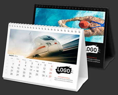 Calendario de mesa personalizado 21x15 cm con espiral - Impreso a todo color…