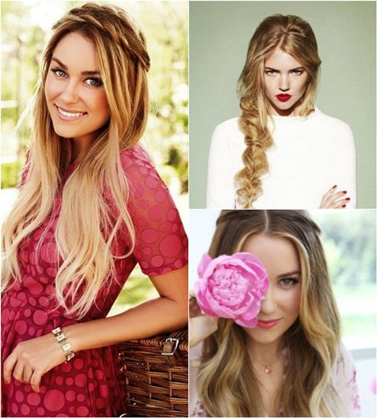 Dark to Light blonde ombre half up hair styles with side bangs 2014 with blonde ombre extension