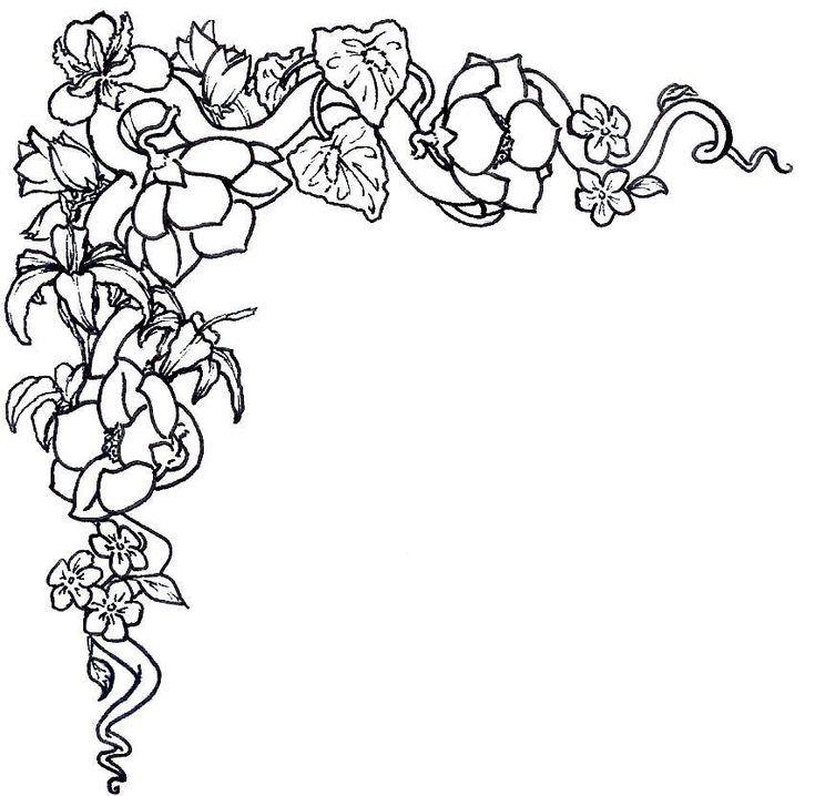 Flower Border Black And White Flower Clip Art Flower Border
