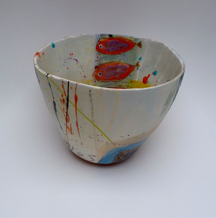 Ceramic vessel with 6 gold tailed fish with yellow ochre interior detail - other side, 20cmsH x 25cmsW - £240