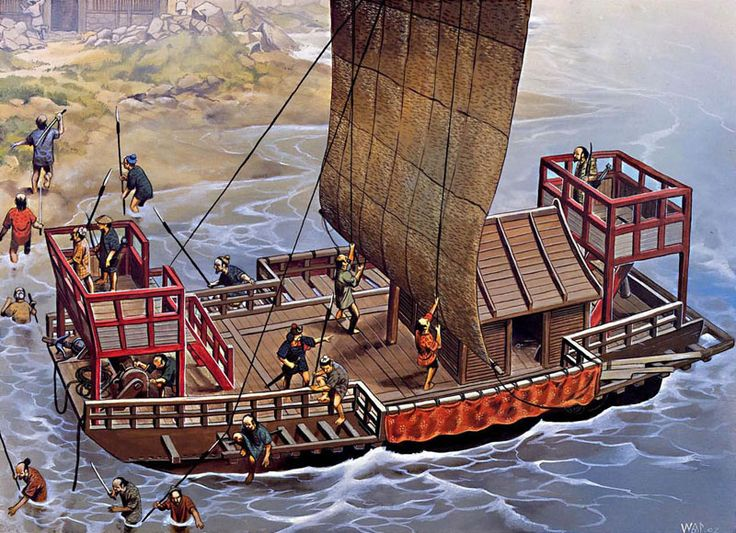 """A gang of wako (Japanese pirates) disembark on the coast of Korea and begin a raid inland, 1380"", Wayne Reynolds"