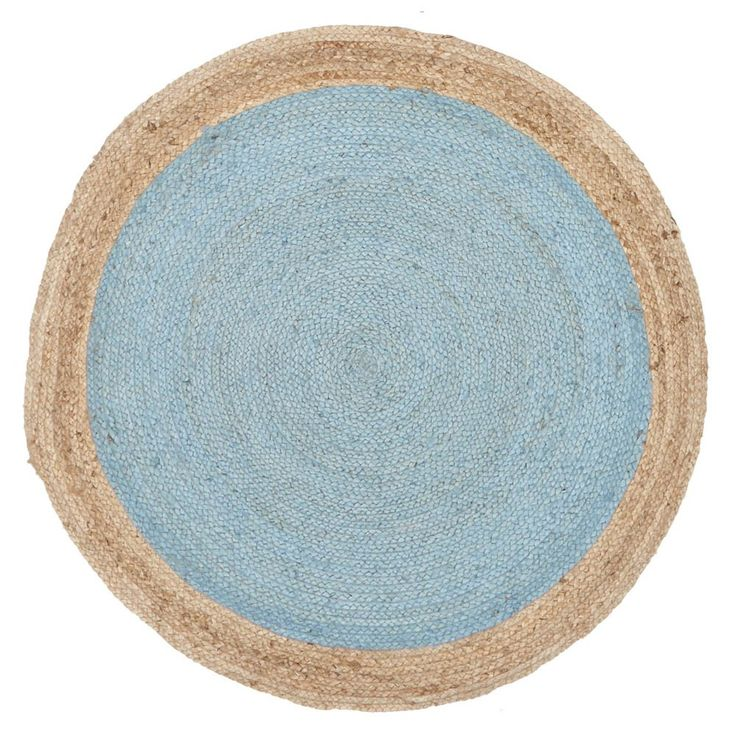 Blue Round Jasmine Hand Spun Jute Rug - Sustainably Stylish - Temple & Webster presents