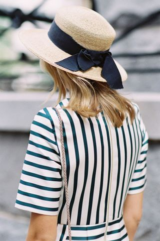 Summer Stripe Dress, Straw Hat.